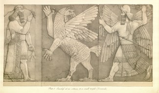 Basreliefs at an entrance to a small temple (Nimroud). From Austen Henry Layard. A Second Series of the Monuments of Nineveh. London: Murray, 1853, pl. 5.