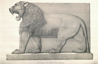 Colossal Lion, Great Entrance (Nimroud). From Austen Henry Layard. A Second Series of the Monuments of Nineveh. London: Murray, 1853, pl. 2.