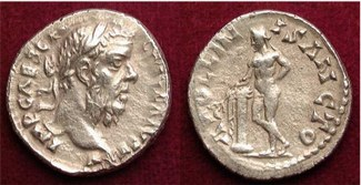 A coin minted in Antioch bearing the image of Pescennius Niger. BMC 297.