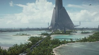 The Imperial Archive on Scarif in 'Rogue One: A Star Wars Story.'