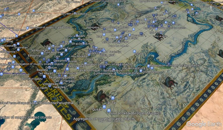 Screenshot from Google Earth showing the game board to Tigris & Euphrates overlaid on Google Earth satellite imagery of Mesopotamia, with points representing Pleiades places for sites in Mesopotamia