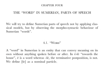 Definition of 'word' in the study of Sumerian from D. O. Edzard's Sumerian Grammar.