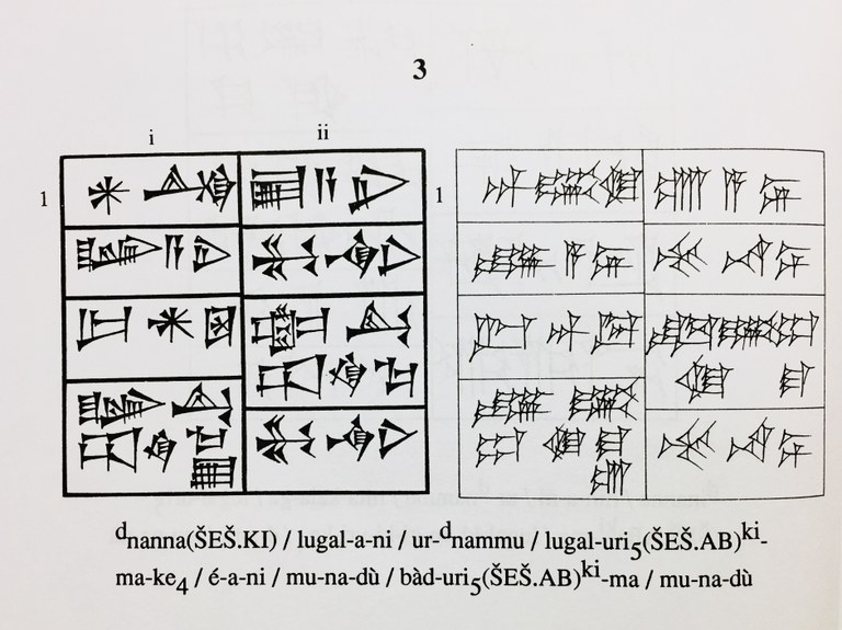 """Reading selection from K. Volk's A Sumerian Reader, specifically an illustration of """"'Urnammu 9"""" from the Cuneiform Texts from Babylonian Texts in the British Museum."""