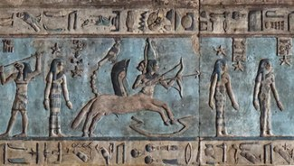 Sagittarius relief from the ceiling of the Great Hypostyle Hall, the Temple of Hathor, Dendara, Egypt, employing the iconography of the Mesopotamian deity Pabilsag.