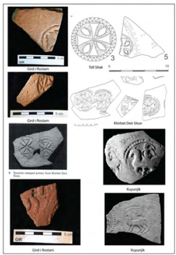 Examples of die-stamped Sasanian pottery from Gird-i Rostam and comparanda