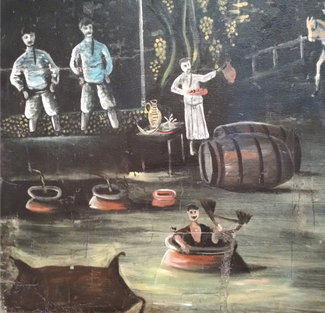 A 19th century painting depicting figures using and washing the wine vessels