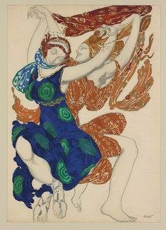 A print depicting two dancers in costume designs inspired by Narcisse, the foreground figure in a flowing blue and green robe and the background figure in terracotta and red