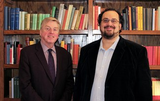 Professor Alexander Jones and doctoral candidate David Danzig of ISAW