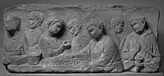 Roman funerary relief, ca A.D. 240, Neumagen (Germany). Photo Th. ZÅhmer, courtesy of Rheinisches Landesmuseum Trier, Inv. NM 739 (K)