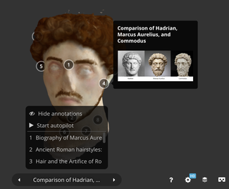 Screen capture of three-dimensional model of Roman portrait bust showing digital colorization and annotations