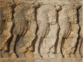 Detail of the Sasanian rock-relief Bishapur III