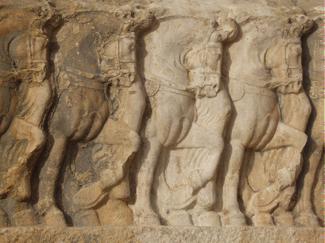 Detail of the Sasanian rock-relief Bishapur III