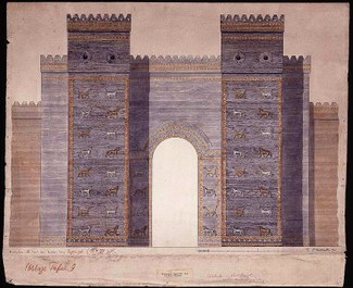 Colored drawing showing a reconstruction of the front of Ishtar Gate. The gate has two large pillars with rows of bulls and dragons in repeating profile against a blue background. Additional features include crenelation at the top. The opening of the gate