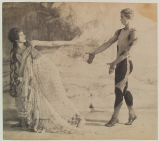 Photograph in a painterly style depicting a woman rejecting the attention of a man wearing an animal print leotard as he walks toward her