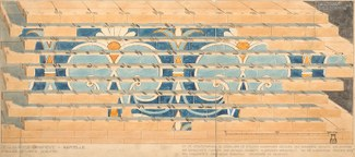 Watercolor diagram showing rows of bricks and the space between the bricks. The face of the bricks shows a reconstructed panel of blue palmettes. Between the bricks black fitters' marks are shown. The fitters' marks are matched on the tops and sides of th