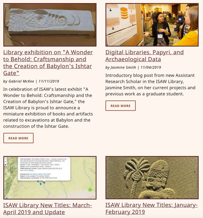 Screen capture of a portion of the ISAW Library Blog page, showing summaries of two articles and the beginning of two more.