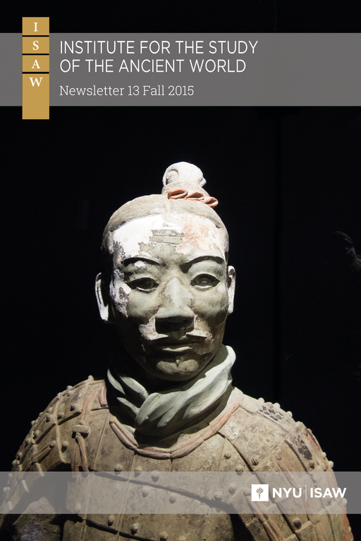 Title and logo are superimposed on a photograph of the bust portion of a ceramic warrior statue. Details of his segmented armor, twisted neck wrap, facial features, and top knot are clearly visible as are extensive remains of red, white, and brown pigments.