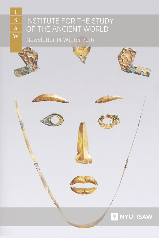 Gold elements corresponding to hair, eyebrows, eyes, nose, lips, and chin are shown on a gray background with the newsletter title and logo overlaid on the photograph.