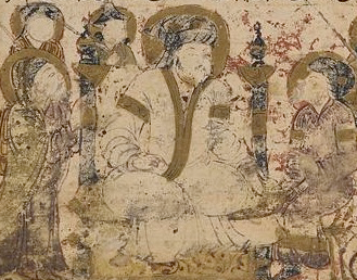 In a damaged illustration, a large figure sits cross-legged, surrounded by smaller figures.