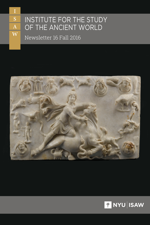 Cover of newsletter: title and logo are overlaid on a photograph of a rectangular stone relief that depicts a human figure wearing a cape and cap grasping a bull by the nostrils from behind and pushing a dagger into its throat. Various figures surround the central figure: some are humanoid, others animal, and others depict common objects like baskets of fruit.
