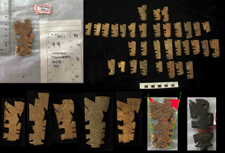 Several flat, rectangular, and slightly tapered brown, beige, or black objects lie on a black background. These objects have complex cuts and notches made on their edges and are cross-hatched on the visible flat faces. A printed scale bar in centimeters is visible (the objects measure about 1.5-2 cm on the short axis and 5-6 cm on the long axis. Some other photographs of similar objects (one with red string tied around it to hold on a tag and accompanied by a piece of paper with a table containing Chinese characters) have been digitally added to the image.