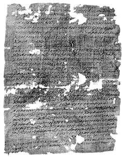 A black-and-white photo of a rectangular papyrus document with some missing parts.