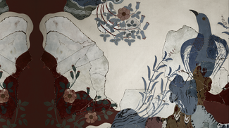 A stylized landscape illustration in reds, blues, and grays, depicting rocks, vegetation, and a blue bird.