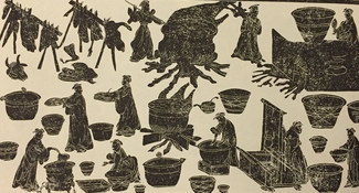 Dark figures on a beige background show robeded individuals working with pots, fires, irregular shapes suspended on racks, and other kinds of fixtures.