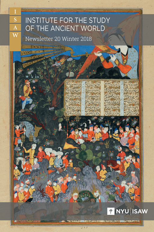 Newsletter cover includes title and ISAW/NYU logos, superimposed on a complex, colorful illustration: at upper right, a large humanoid figure with orange wings holds a multi-horned wind instrument as if about to play; below, a series of woodland scenes containing many figures are depicted