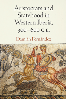 The book cover features title and author's name in large type across a cream-colored background in the top half. In the bottom, a mosaic shows a mounted figure on horseback with a shield aiming a spear at a leopard running alongside. Trees and other vegetation appear in the background.