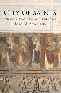 The book cover features the title, subtitle, and author's name across the top, overlayed on a colorful, but apparently faded and damaged wall illustration. The prominent middle band of the illustration features a series of robed human figures holding books or scrolls. They have large gold circles behind their heads.