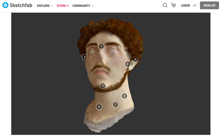Screen capture of a three-dimensional image of a bearded male statue head, colorized and labeled with numerical labels.