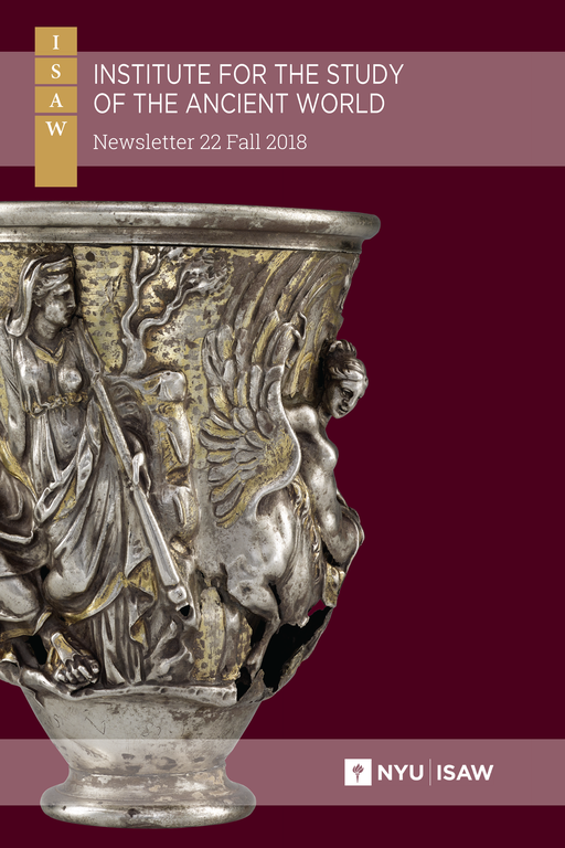 Cover of the newsletter, with a plum-colored background and rose callouts for the title. The ISAW logo features with the title at the top and a photograph of an ornate silver vase featuring humanoid figures and a winged horse dominates the center of the image.