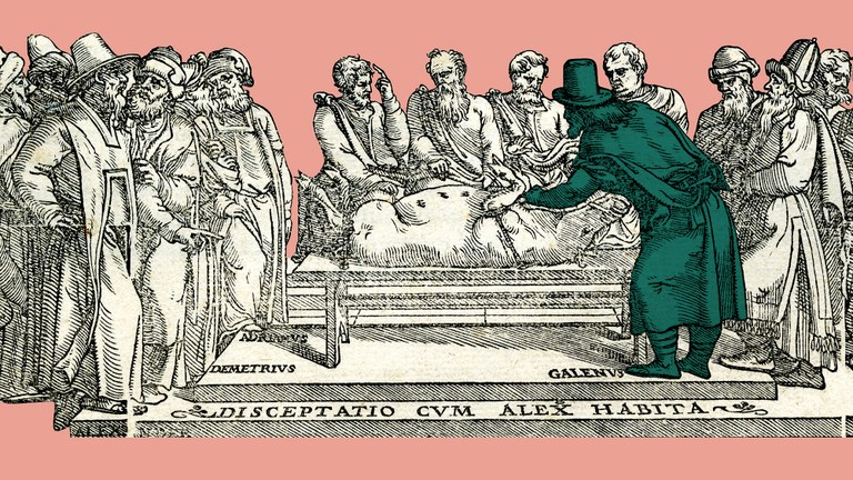 Still from the introductory animated short depicting Galen performing a pig dissection. Based on a detail of the title page from Galeni sexta classis eam chirurgie partem amplectitur, que ad cucurbitulas scarificationes, hirudines, deriuationem, reuulsionem, ac phlebotomiam spectat (Venice, 1550).
