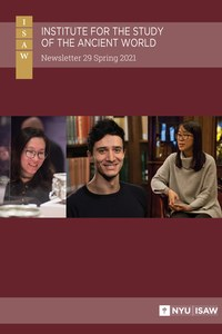 Images of three people superimposed on a red-wine colored background with ISAW logo and newsletter title at top.