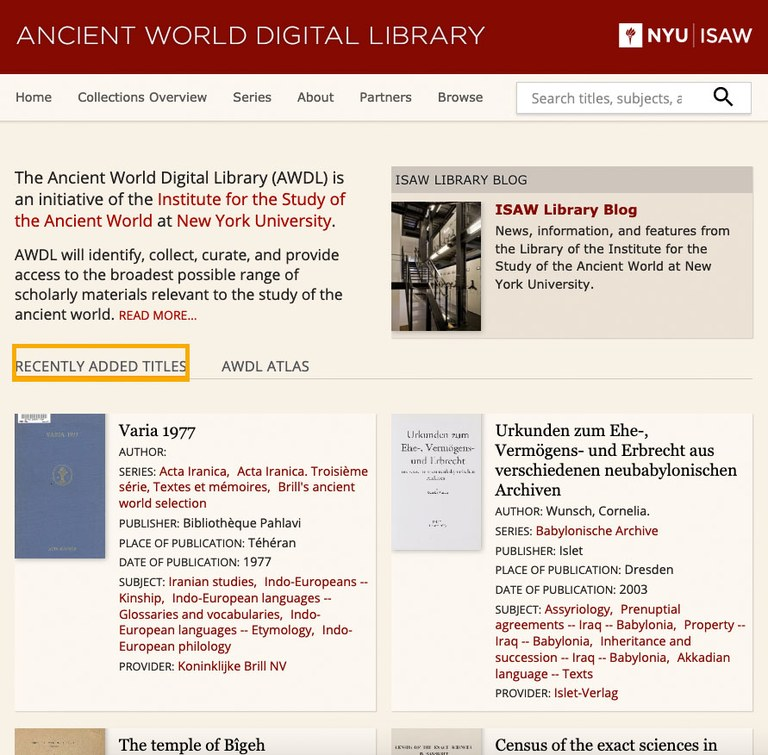 Screen capture of a portion of the AWDL home page. It shows summaries of individual titles recently added to the collection.
