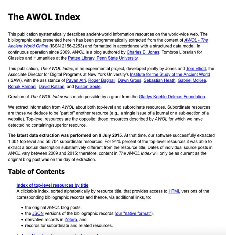 Screen capture of a portion of the AWOL Index home page, which shows a large quantity of text.