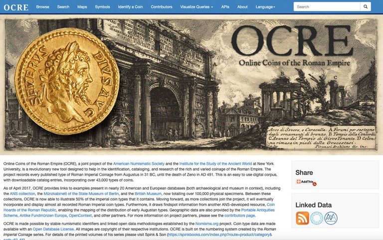 Screen capture of a portion of the OCRE home page, showing a Renaissance engraving of ruins in the Roman forum and a gold coin.