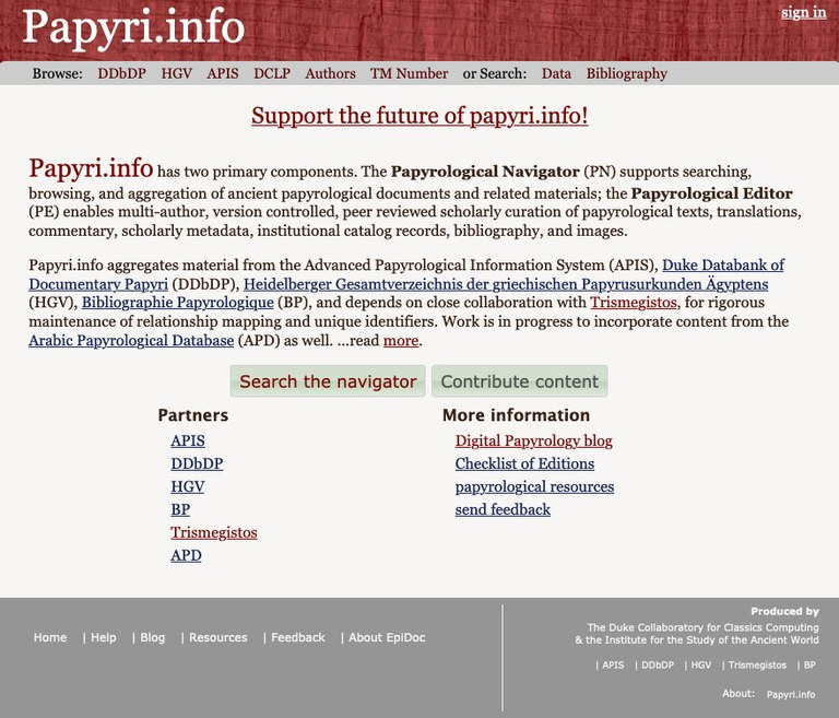 Screen capture of a portion of the papyri.info home page, featuring a large quantity of text.