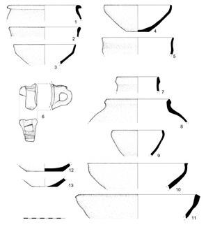 Рис. 15: Керамика из участков 1, 12 и из городища Кызыл-тепа (1-3: Девор-и Канпирак, участок 12, разрез 1, завал и оплыв стены; 4-6: Девор-и Канпирак, участок 12, разрез 2, завал и оплыв стены; 7-11: Кизил-тепа. Поверхностные сборы керамики; 12-13: Девор-и Канпирак, участок 1, разрез, пахсовая кладка)