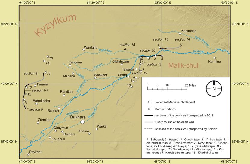 Карта Бухарского оазиса с