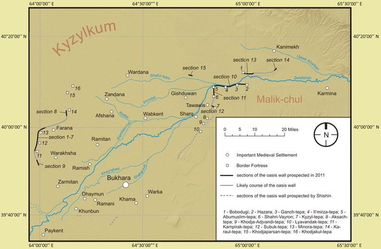Рис. 1: Карта Бухарского оазиса с оазисной стеной «Девор-и Канпирак»